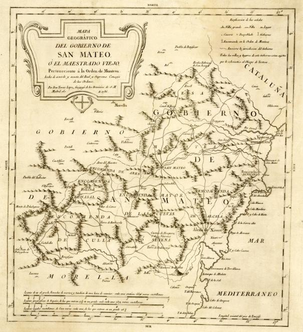 El Maestrat al 1786, segons un mapa de Diego López imprès a Madrid.
